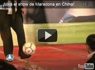 ¡Mirá el show de Maradona en China!