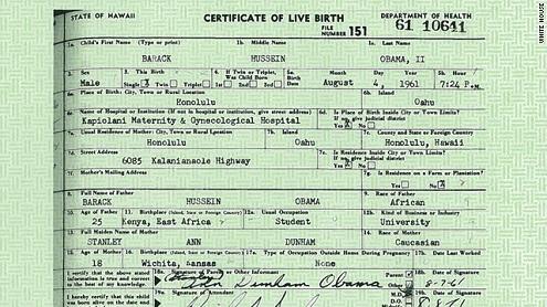 Certificado de nacimiento de Obama