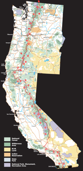 Pacific crest trail route overview